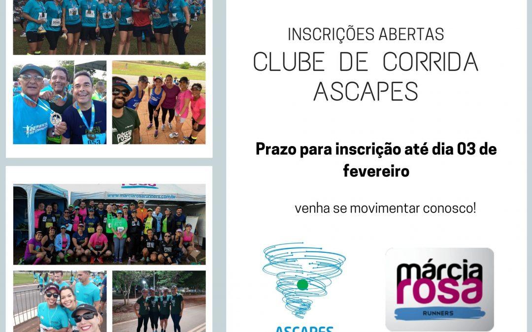 VAGAS ABERTAS PARA O CLUBE DE CORRIDA ASCAPES  – início em fevereiro